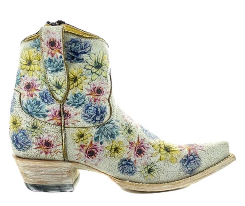 Yippee by Old Gringo Saguaro Flower Crackled Taupe Boots YBL408-1 Image