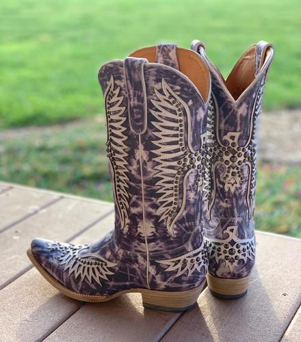 Old Gringo Fairview Indigo Tie Dye Boots L3290-3 Heel