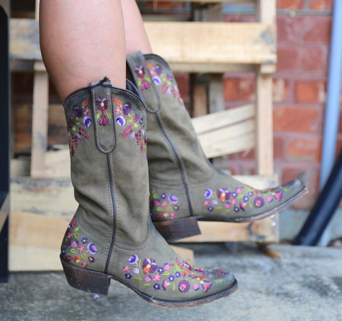 Liberty Black Floral Military Green Boots SLMAA650 Picture