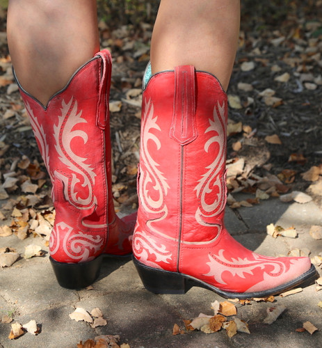 Corral Red Laser Engraved Boots G1524 Heel