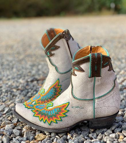 Old Gringo Eagle Beaded White Boots BL3295-3 Toe