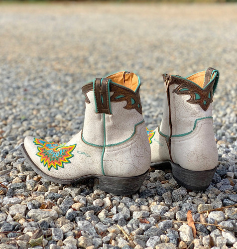 Old Gringo Eagle Beaded White Boots BL3295-3 Heel
