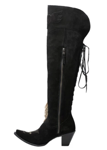 Junk Gypsy by Lane Spirit Animal Black Suede Boots JG0022E Zipper