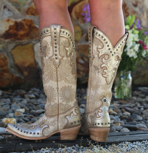 Double D by Old Gringo Something New Bone Boots DDL076-1 Heel