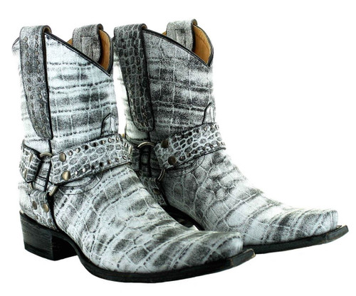 Old Gringo Aria Plain Harbor Grey Biker Boot BL3420-1 Picture