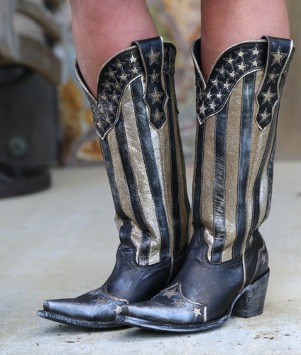 Yippee by Old Gringo Bloom Black Boots YL470-1 Stars