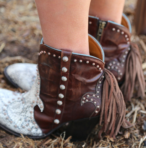 Old Gringo Donna Vegas White Boots BL3435-1 Fringe