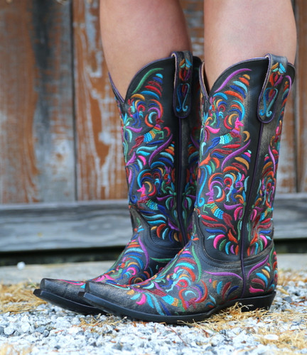 Old Gringo Taos Fiesta Rustic Beige Boots L3444-2 Detail