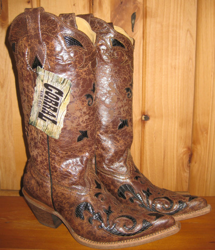 Corral Black Chocolate Lizard Overlay Boots C2118