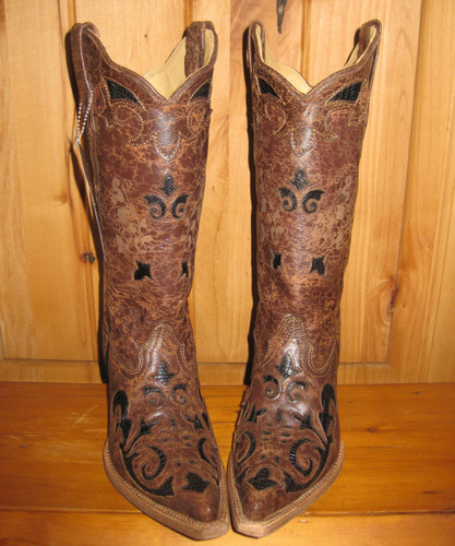Corral Black Chocolate Lizard Overlay Boots Front Picture