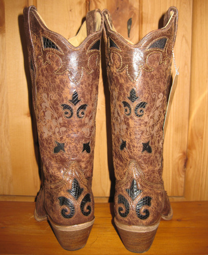 Corral Black Chocolate Lizard Underlay Boot