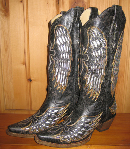 Corral Black Silver Wings and Cross Cowgirl Boots Picture