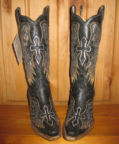 Corral Black Silver Wings and Cross Cowgirl Boots A1994