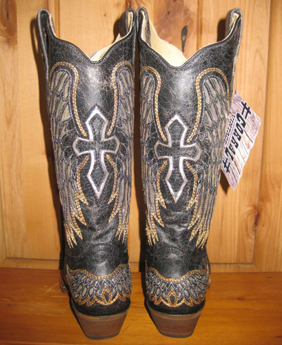 Corral Black Silver Wings and Cross Boot