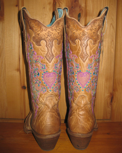 Corral Brown with Pink Heart and Lace Boots  Back Picture