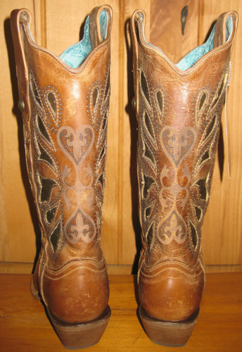 Corral Cognac Butterfly Laser Cowgirl Boots Picture