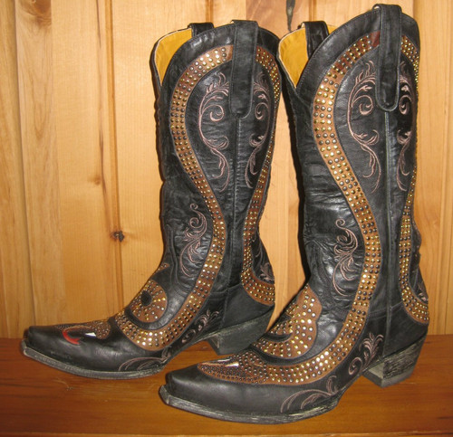 Old Gringo Snake Black Boots L1055-1 Right