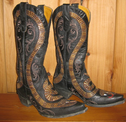 Old Gringo Snake Black Boots L1055-1 Left