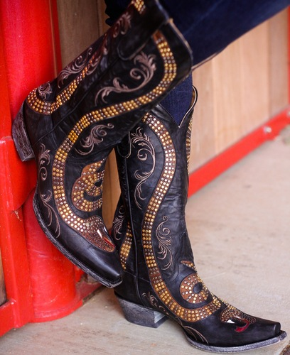 Old Gringo Snake Black Boots L1055-1 Picture