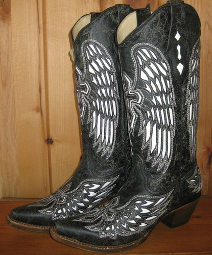 Corral Wing and Cross Black and Bone Boots
