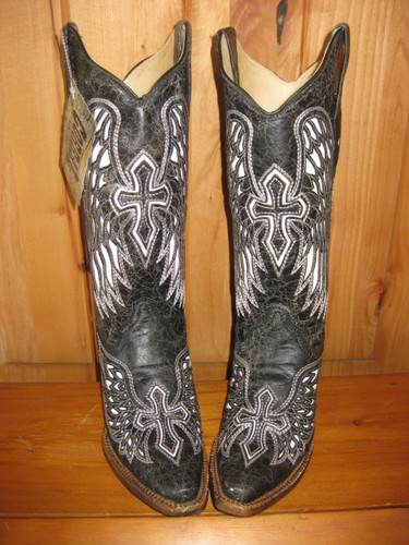 Corral Wing and Cross Black and Bone A1018