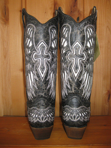 Corral Wing and Cross Black and Bone Boot A1018