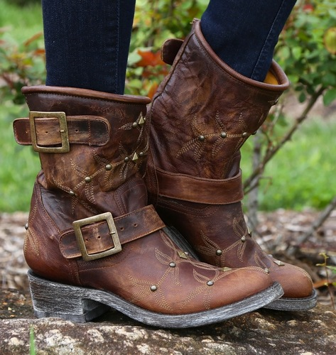 Old Gringo Biker PoloStud Brass Boots L787-5 Picture