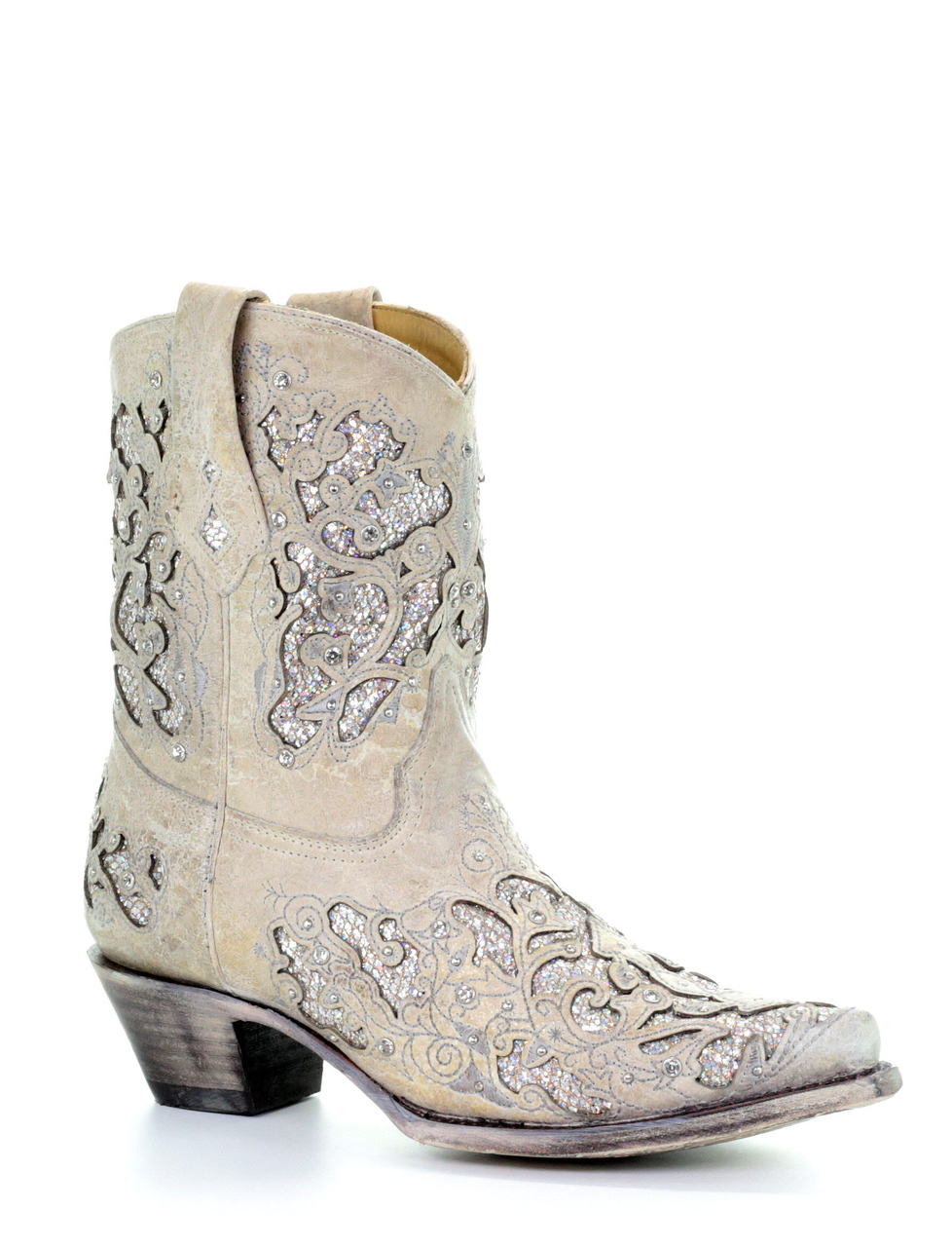 5a76a098f42 Corral White Glitter Inlay and Crystals Ankle Boot A3550