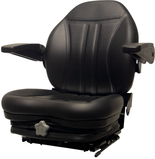 High-Back Vinyl Seat with Integrated Suspension & Arm Rests