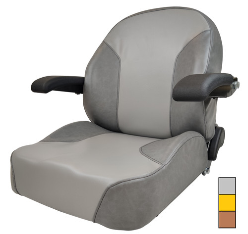 High-Back Seat with Arm Rests and Slides  Brown, Gray or Yellow