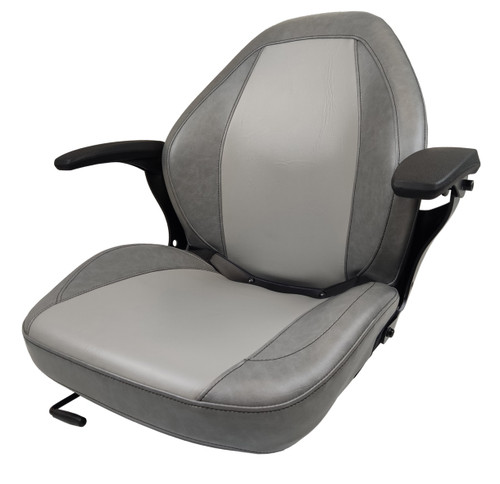 High-Back Sewn Vinyl Seat with Slides and Armrests Gray