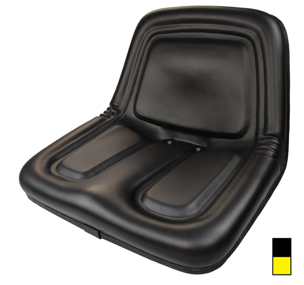 Low Back Steel Pan Vinyl Seat Black Or Yellow
