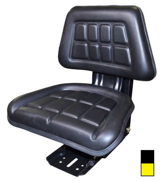 Universal Trapezoid Tractor Seat with Adjustable Suspension Black or Yellow