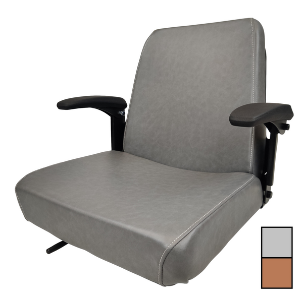 High-Back Steel Pan Seat with Armrests and Slides  Brown or Gray