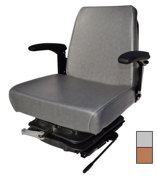 High-Back Suspension Seat Arm Rests and Slides Brown or Gray
