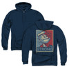 Image for Popeye the Sailor Zip Up Back Print Hoodie - Strong Motorcycle