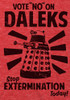 """Image Closeup for Doctor Who T-Shirt - Vote """"No"""" on Daleks"""