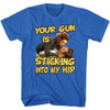 Image for Ace Ventura Pet Detective T-Shirt - Your Gun is Sticking Into My Hip