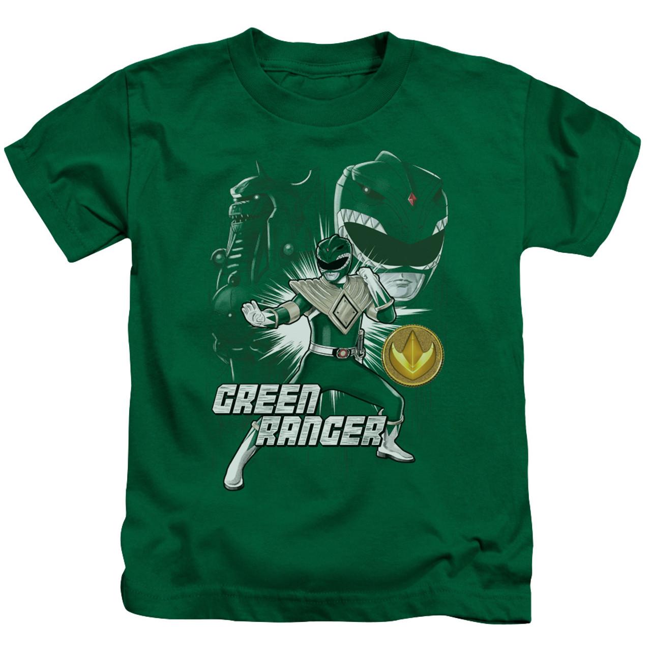 Mighty Morphin Power Rangers GREEN RANGER Licensed T-Shirt KIDS Sizes 4 5//6 7
