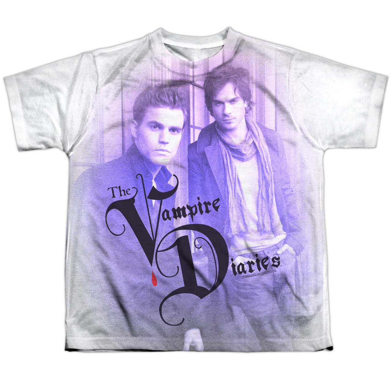 Vampire Diaries Youth Sublimated T Shirt Stefan And Damon Nerdkungfu