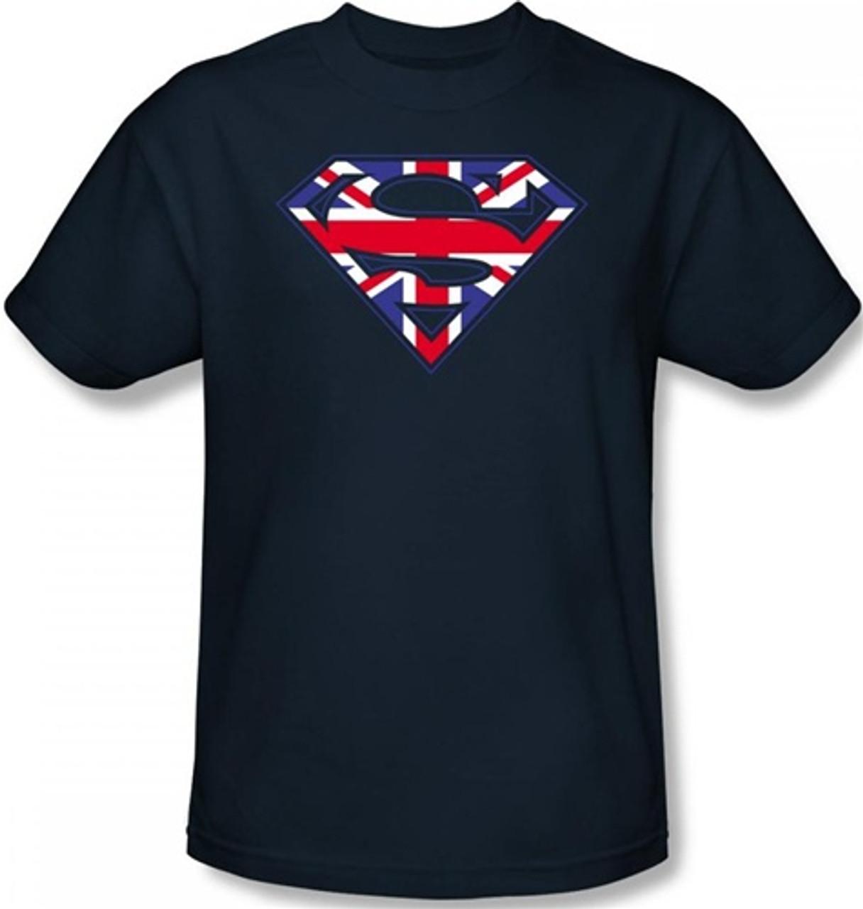 Superman Logo Symbol T-Shirt Womens Ladies Blue 2XL UK 18-20
