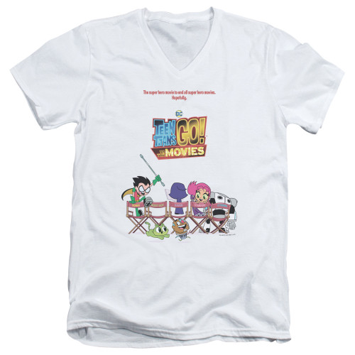Image for Teen Titans Go! V-Neck T-Shirt - Go to the Movies Poster