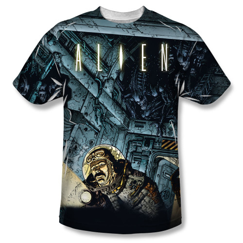 Alien T-Shirt - Sublimated Cartoon Lurking 100% Polyester