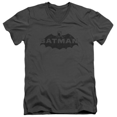 Image for Batman V-Neck T-Shirt - Newsprint Logo