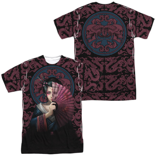 Image for Anne Stokes Sublimated T-Shirt - Geisha Skull 100% Polyester