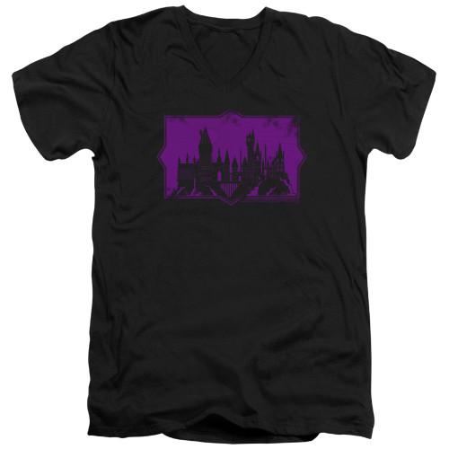 Image for Fantastic Beasts: the Crimes of Grindelwald V Neck T-Shirt - Howarts Silhouette