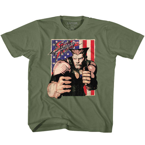 Image for Street Fighter Guile With Flag Youth T-Shirt