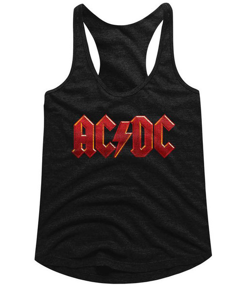 Image for  AC/DC Distress Red Classic Juniors Racerback Tank Top