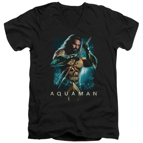 Image for Aquaman Movie V Neck T-Shirt - Trident