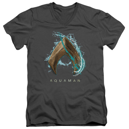 Image for Aquaman Movie V Neck T-Shirt - Water Shield